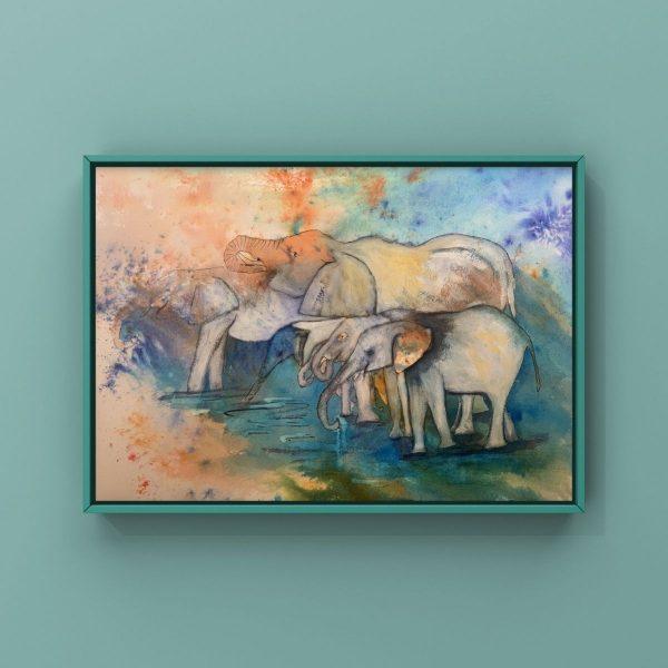 vibrant family elephants