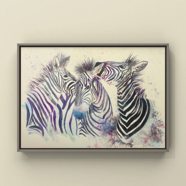 Zebra watercolour in picture frame