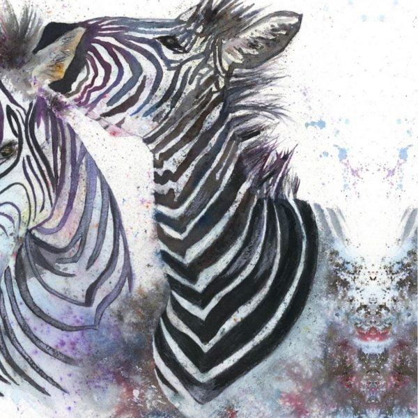 close up of zebra canvas