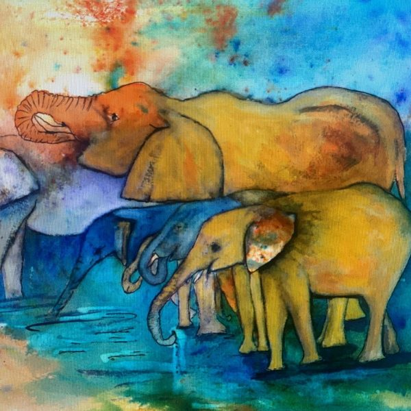 elephant watercolour ink