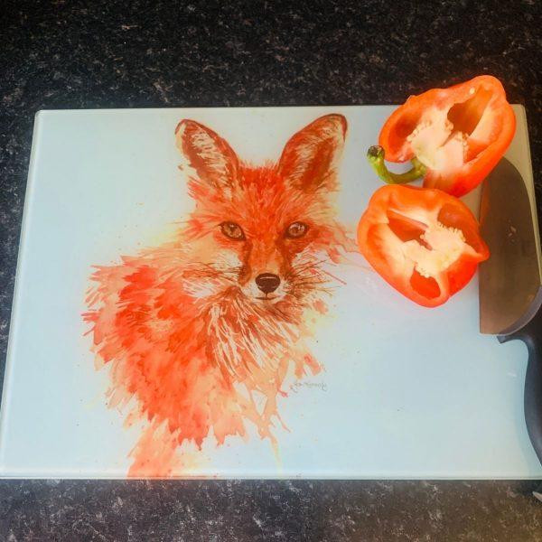 fox glass chopping board