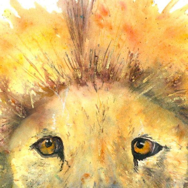close up lion watercolour