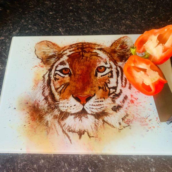 watercolour tiger glass worktop saver