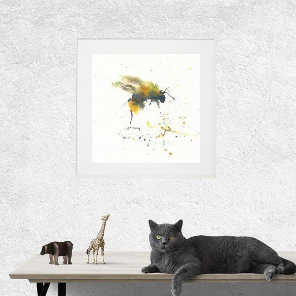 bee watercolour near cat