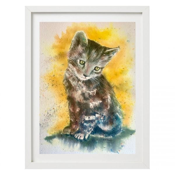 original watercolour cat painting