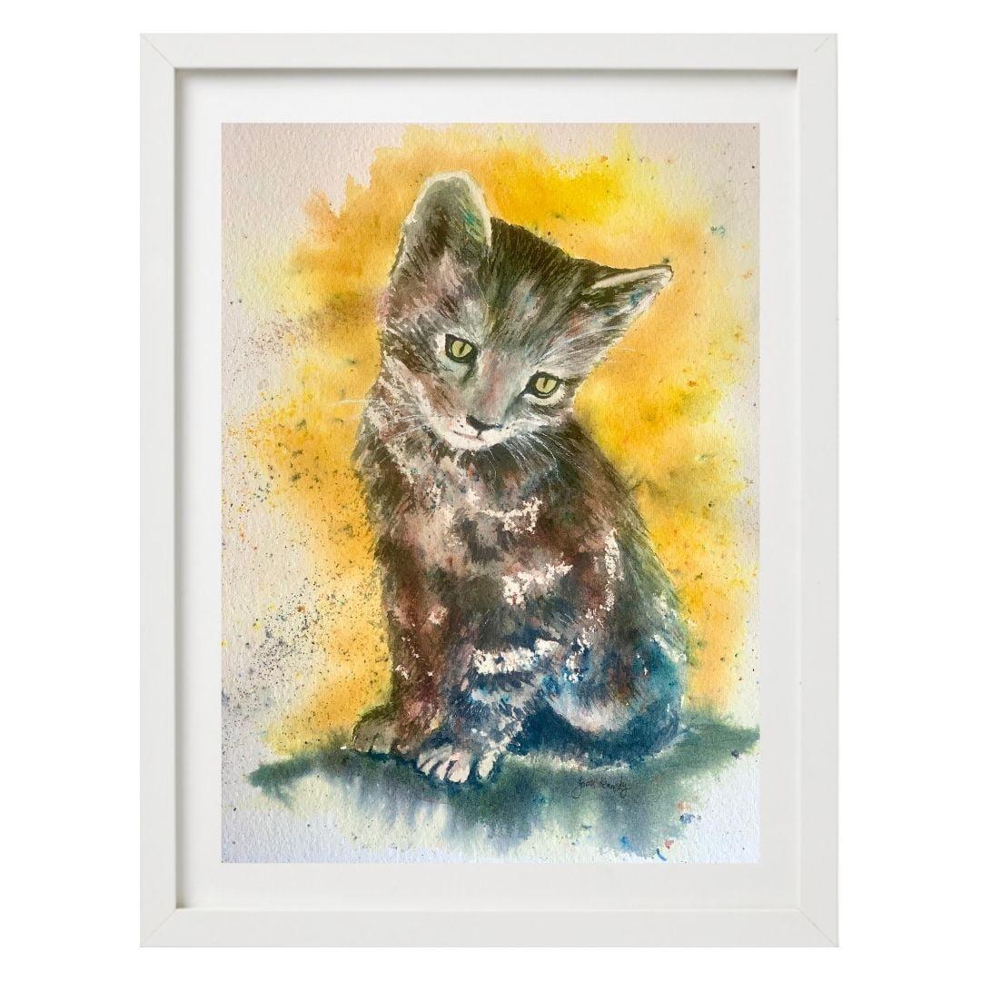 original watercolour cat painting