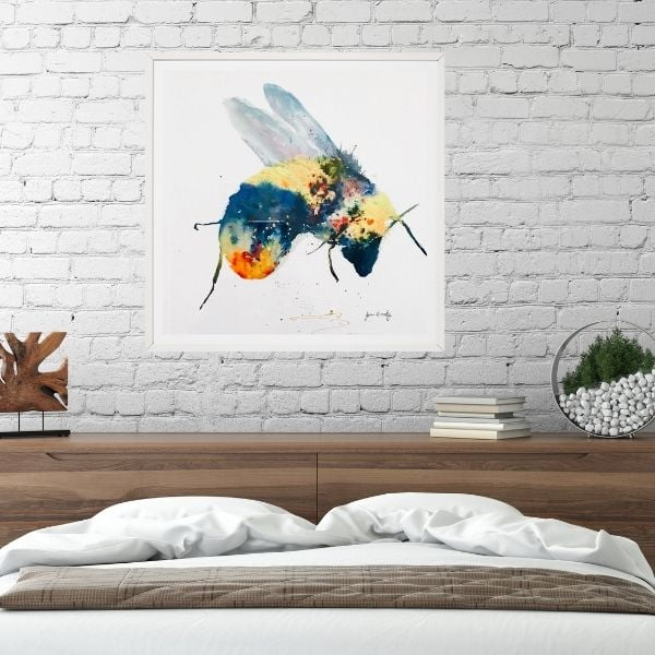 Bee print by the bed