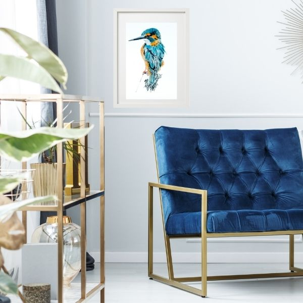 kingfisher by blue chair